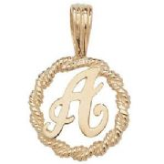 9ct Gold Round rope edged Initial letter A pendant 0.8g